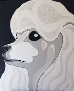 "Original Pop Art Poodle Dog Painting, 42x35"",Acrylic On Canvas"