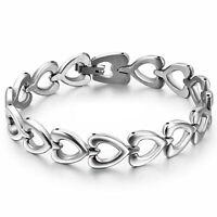 Brazalete de acero inoxidable Love Heart Link Chain Bangle para pulsera de plata
