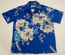 e5a51550 Vtg 70's Malihini Hawaii Hawaiian Shirt Beautiful Blue Floral Pattern EUC