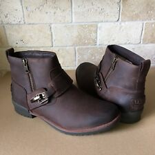 UGG CHEYNE BROWN LEATHER WATERPROOF DUCK ANKLE BOOTS SIZE US 11 WOMENS