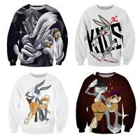 Fashion Men/Women's Cartoon Bugs Bunny 3D Print Sweatshirt Hoodies Pullovers