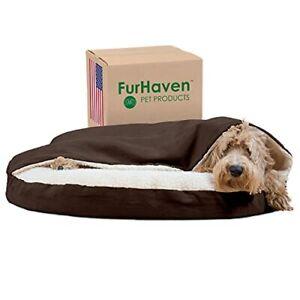 Furhaven Pet Dog Bed - Orthopedic Round Cuddle Nest Faux Sheepskin Snuggery B...