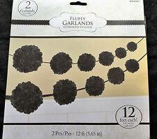 2 X Noir Papier Fête Guirlande Moelleux Pompons Bruant Noir Décoration de Fête