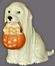 Lenox Puppy halloween Dog New Ghostly Pup With Pumpkin Bowl Full Of Bones cute