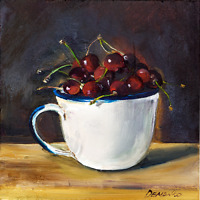 Red Cherries in the Cup Still Life oil painting 8 x 8in 20 x 20cm