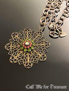 Liz Palacios filigree pendant Oval Link necklace