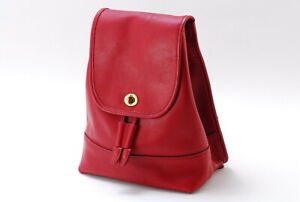 【Rank B】Auth Coach Vintage Leather Daypack Backpack Turnlock From Japan A022