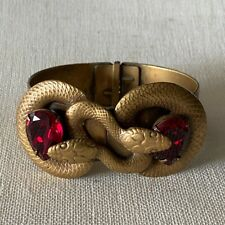 Joseff of Hollywood Coiled Snake Bracelet Red Rhinestones Vintage Jewelry Signed
