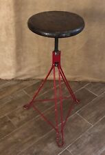Vintage Handmade Stool red wood hairpin leg adjustable industrial bar Furniture