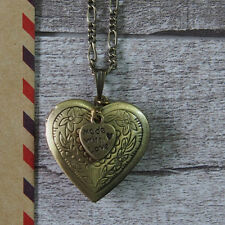 Made With Love Tag Brass Heart Photo Picture Locket Pendant Necklace