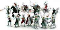 "Plastic Toy Soldiers Templar Knights Crusaders 16 Painted Figures 3"" FREE SHIP"