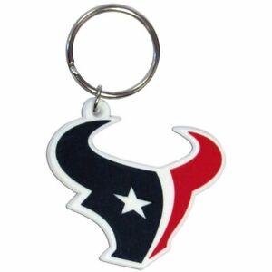 Houston Texans NFL Flex Laser Cut Rubber Keychain Ring Navy/Red/White
