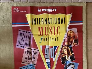 International country Music Festival Orig Concert Poster 1990 Wembley 60 X 40