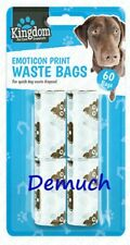 New 60 Pack Pet EMOTICON WASTE BAGS Dog Cat Poo Disposal Scoop Doggy Poop Bag ✔
