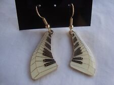"PIANO Floating Keyboard Dangle Earrings 1.25"" L Gold Trim Great MUSIC Gift  NEW"