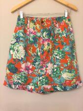 VTG 90s Womens 6 Shorts High Waist Bright Multi-color Floral Pockets Bermuda K3