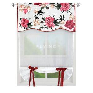1x Panel Gardine Fertiggardine Vorhang Weiß Blumen NEU Modern 120cm x 70cm