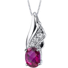 1.75 CT Oval Red Ruby Sterling Silver Pendant