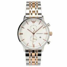 Emporio Armani Steel Two Tone Silver Rose Gold Chronograph Men's Watch AR0399