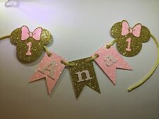 Pink, Gold and White glitter cake garland, Minnie mouse inspired first birthday