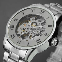New Men's Classic Gold Stainless Steel Skeleton Automatic Mechanical Wrist Watch