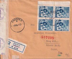 1941 CROATIA ZAGREB scarce multi semi-postal REG to B+M attractiv unusual