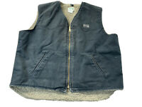 KEY Mens Black Sherpa Lined Canvas Full Zip Chore  Vest XL