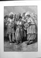 Antique Old Print A Nautch Girl Dancing Sketch By Coton Woodville India 1891