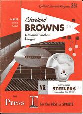 NOV 16, 1952 CLEVELAND BROWNS vs PITTSBURGH STEELERS ORIGINAL FOOTBALL PROGRAM