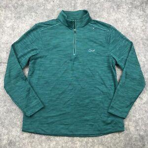 Greg Norman Pullover Mens Medium Green Half Zip Long Sleeve Golf Play Dry