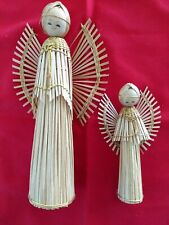 """Vtg Straw Wood christmas holiday Angels ornament 8"""" and 5"""" tall appear handmade"""