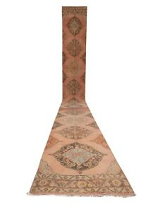 """Vintage Turkish Oushak Runner With Eclectic Style 2'7"""" x 23'1"""""""
