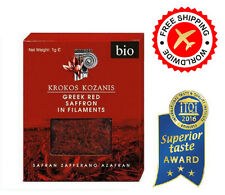 Greek Saffron Safran Red In Filaments. Krokos Kozanis Bio 1g, Taste Award 2016