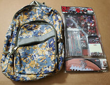LL Bean Camoflauge Camo Yellow School Backpack w/ 20 Piece Stationary Set Art