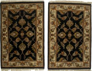 Pair of Black Classic Floral Design 2X3 Chobi Oriental Rugs Handmade Wool Carpet
