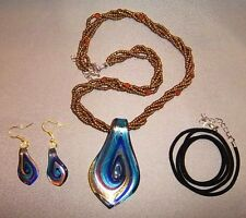 Art Glass Pendant And Earring Set (With Bonus Suede Cord) (New)