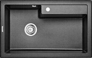 Granit 1 Becken Spüle Spülbecken Küchenspüle Küche Armatur 80x50-Grafitmetallic