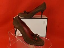NIB COACH BROWN SUEDE ANISE CONTRAST STITCHED BOW ROUND TOE HEEL PUMPS ITALY 7.5