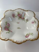Limoges France A. Lanternier Rectangular Scalloped Bowl Wild Pink And White Rose