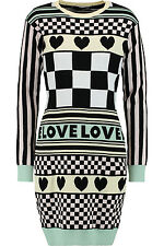 LOVE MOSCHINO CHEQUERED & HEART KNITTED COTTON JUMPER DRESS SIZE 12 RETAIL £225