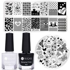 Nail Art Stamping Polish Black White Stamp Plates Heart Butterfly Kit UR SUGAR