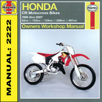 Honda CR80 CR85 CR125 CR250 CR500 Motocross Bikes 1986-2007 Haynes Manual 2222