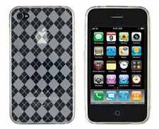 Flexible TPU Gel Case for iPhone 4 / 4S - Argyle Clear