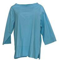 Martha Stewart Women's Top Sz L Poplin Funnel Neck Blouse Sea Blue A353799