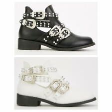 LADIES WOMENS FLAT LOW HEEL CHELSEA STUDDED CUT OUT BUCKLE SHOES BOOTS SIZE 3-8