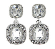 SILVER CLIP ON EARRINGS - drop earring with two clear stones and crystals - Mara