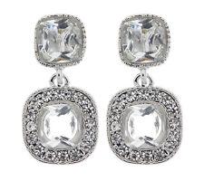 Orecchini a Clip-orecchino d'argento con due chiare pietre e cristalli-MARA