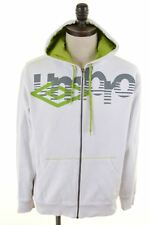 UMBRO Mens Hoodie Jacket Large White Cotton