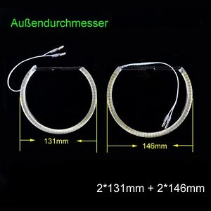 BMW E46 LED Angel Eyes Light Lamps 2*131mm &146mm Halo Ring Non-projector White