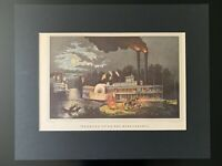 """Vintage """"Wooding Up - On the Mississippi"""" Matted Print"""
